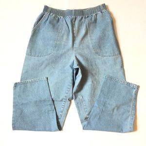 Vintage high rise denim joggers / elastic pants 28